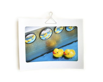 Art for kids children's room bathroom gender neutral photograph fun colorful Rubber Ducks in a Row 8.5 x 11