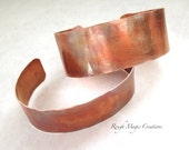His and Hers Jewelry, Copper Cuff Bracelets, Rustic Primitive Metalwork, Matching Cuffs, Couples Jewelry, Girlfriend Boyfriend Gifts