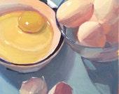 "Art painting egg still life ""Simply Cracked"" original by Oregon artist Sarah Sedwick 8x8"""