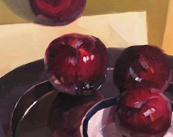 "Art fruit painting ""Plum Line"" original oil on canvas by artist Sarah Sedwick 9x12"""