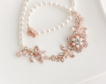Bridal Jewelry Rose Gold Wedding Necklace Pearl Bridal Necklace Flower Leaf Necklace Swarovski Crystal Rose Gold Jewelry SABINE GARDEN