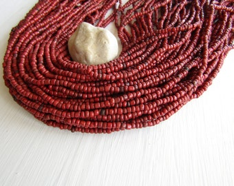red seed beads, red glass beads, opaque dark  rustic   irregular organic tube rondelle Indonesia  - 1.5  to 4mm /44 inch - 6bb5-6