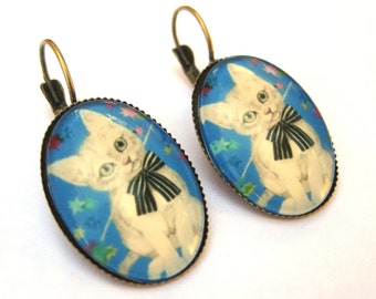Cat Earrings Lever Back Glass Dome Earrings - Blue Stars Bow Tie Kitty
