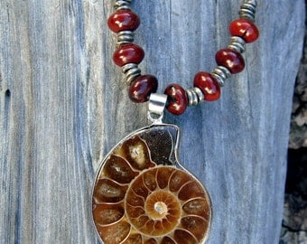 Ammonite Fossil Pendant with Red Jasper on Leather Necklace OOAK