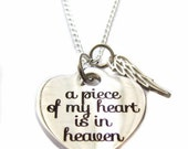 "Stainless Steel ""A Piece Of My Heart Is In Heaven"" Heart Charm, Angel Wing Sterling Silver Necklace 18"", Memorial, In Memory Of Loved One"