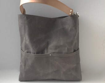 Waxed Canvas Tote Bag, Bucket Bag, Gray Bag, Hobo Tote, Casual Tote Bag, Handbag