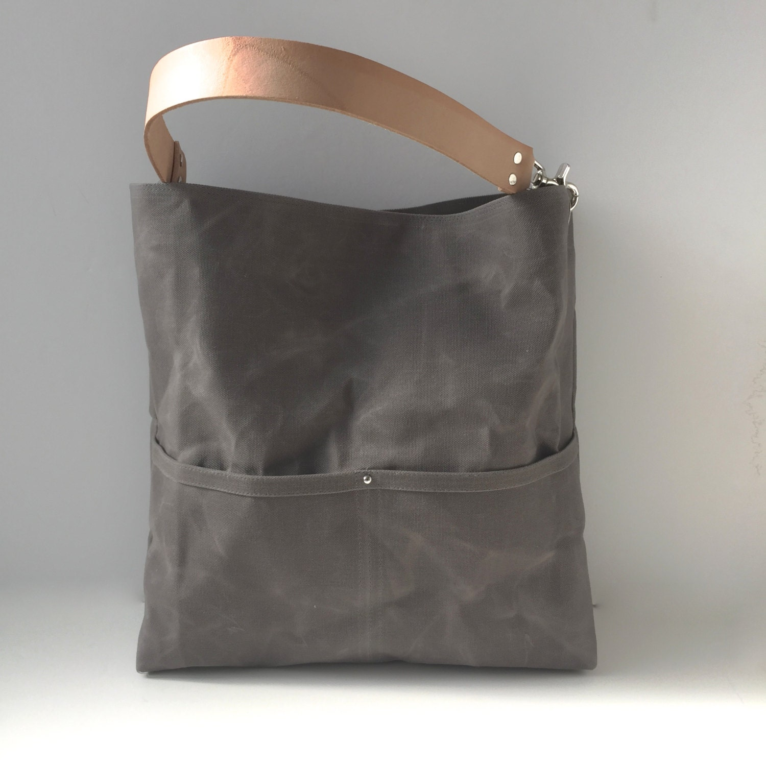 waxed canvas tote bag bucket bag gray bag hobo tote casual. Black Bedroom Furniture Sets. Home Design Ideas