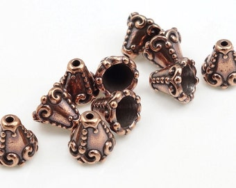 Antique Copper Bead Caps Copper Beadcaps TierraCast Heirloom Cone Caps Jewelry Beads for Jewelry Making Copper Beads Bali Style (PC115)