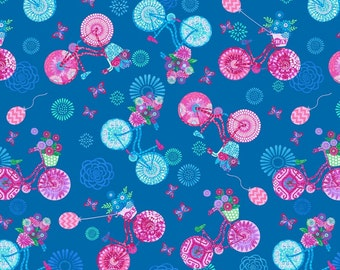 Bikes Flowers Blue Enjoy the Ride Studio E Fabric 1 yard
