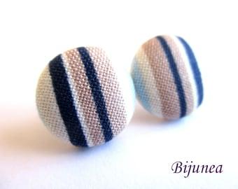 Stripe earrings - Blue stripe stud earrings - white stripes posts - Baby blue stripes post earrings sf1321
