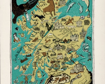 illustrated map of Scotland, 600x800mm, signed giclee edition no. 2 of 100