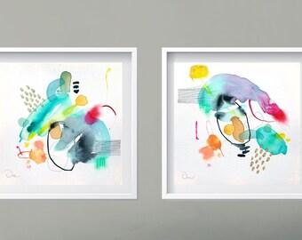 Abstract modern minimal original painting, colorful modern art, abstract wall art, painting on paper, diptych wall painting, minimalist art