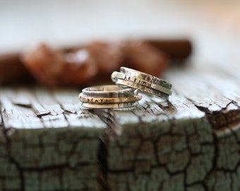 single band skinny hand stamped sterling silver or 14k gold spinner ring mothers ring stackable ring