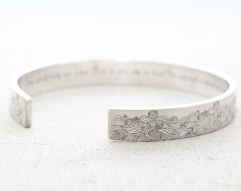 Inspirational Bracelet - Silver Cuff Bracelet - E.E. Cummings Cuff Bracelet - Sea Quote - Summer Outdoors