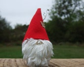 Christmas Woodland Gnome Real Wood Branch Red and White
