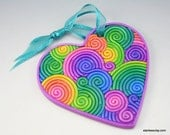 Heart Ornament in Pastel Rainbow Polymer Clay Filigree (Large)