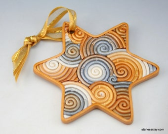 Star of David Ornament in Silver and Gold Fimo Polymer Clay