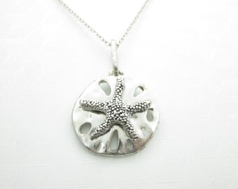 Sand Dollar Necklace, Sea Biscuit Pendant, Silver Starfish Charm, Beach Jewelry - X027