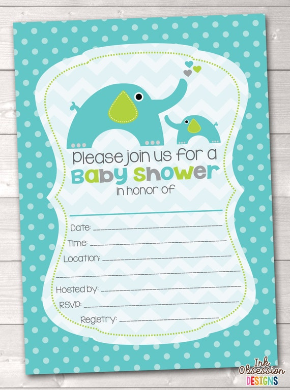 fill in the blank blue green boys elephant baby shower invitations
