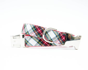 Plaid Christmas Dog Collar - Ivory Tartan