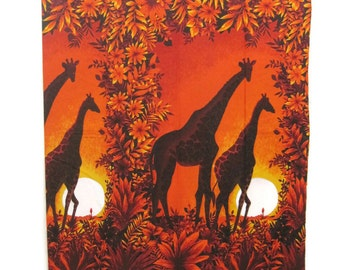 Vintage 70s Fabric Cotton Barkcloth Orange Sunset Giraffe Panels 2 yards