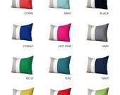 Custom 16x20 Color Block Pillow in Cream and Natural Linen by JillianReneDecor - Modern Home Decor - Colorblock Striped Trio