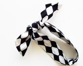 Black & White Harlequin Head Scarf / Multipurpose Hair Accessory, Neck Scarf, Handbag or Walker Adornment, Pet Neckwear / Fun Gift Under 25