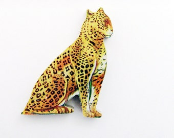 1960s Puma - Ocelot Brooch - Pin / Unique Gift Under 50 / Upcycled Vintage Hand Cut Wood Jewelry / Brown & Tan Wood Feral Jungle Cat