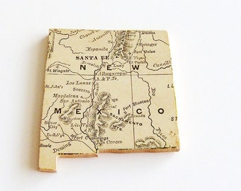1907 New Mexico Brooch - Pin / Unique Wearable History Gift Idea / Upcycled Antique Wood Jewelry / Timeless Gift Under 50