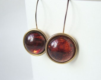 Large Faux Amber Earrings - Vintage 1980s Jewellery - Cabochon Earrings