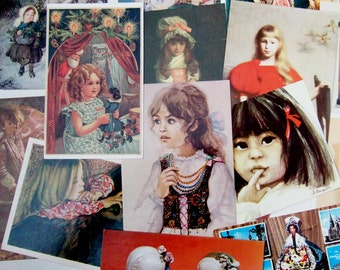 15 Vintage Postcards of Children and Dolls - Cute and Pretty Collection with Paintings of Girls