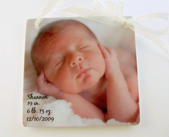 Birth Announcement Ornament for your Christmas Tree - One-sided Holiday Decoration - OOS