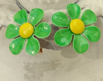 Vintage mod 1960s enamel flower earrings lime green and yellow daisy blossoms clip on earrings
