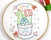 Cactus Succulent Embroidery Digital Pattern Southwest Summer