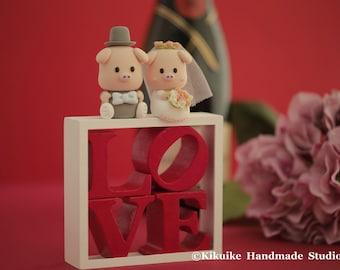 piggy and piglet bride and groom wedding cake topper---k736