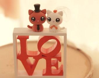 cat wedding cake topper, kitty Wedding Cake Topper,pets wedding cake topper