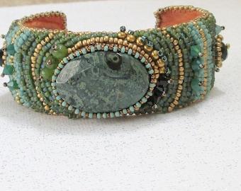 SALE Green jasper bracelet bead embroidered cuff statement bracelet cabochon bracelet seed bead jewelry handmade
