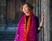 felted scarf, felt scarf, nuno, wool, silk, art, nunofelt, blue, burgundy, orange, pink, kate ramsey felt