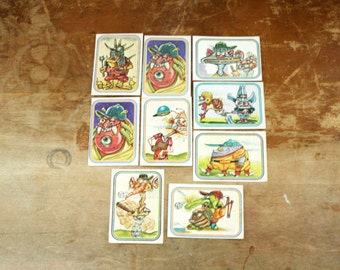 vintage 1970s Group of 9 Donruss Super Freaks Baseball Trading Cards Stickers