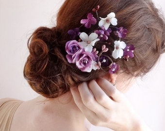 bridal flower hair clip, bridal hairpiece, purple hair accessories, wedding headpiece, bridal head piece, wedding hair pins, lavender flower