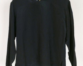 Vintage I. Magnin Black Silk Top Boxy Fit 10 M L