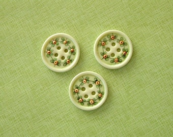 Orange Bud Button set of 3