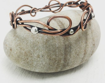 Tattoo Copper wire Tangled ooak medium Seaweed Kelp bracelet with 8 Silver Pods