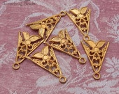 Vintage Brass Filigree Stampings or Connectors - Triangle Shape With Floral Motif and Single Loop (6 pc)