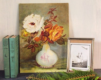 vintage painting - cottage tea roses in vase still life acrylic on canvas