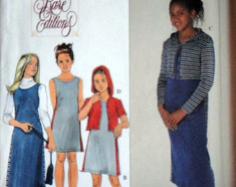 simplicity 8870 Sewing Pattern, Girls' Knit Dress or Jumper and Jacket, Sizes 7-8-10, Uncut FF