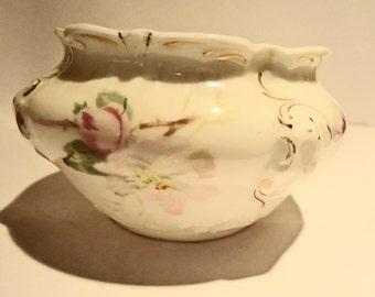 "Vintage porcelain BOWL, flowers on white, fluted lip, gold trim 2"" x 3"""