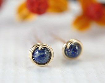 Tiny lapis lazuli post earrings 14k gold filled wire wrapped ultramarine blue stud earrings small lapis earrings second piercings 5mm mini