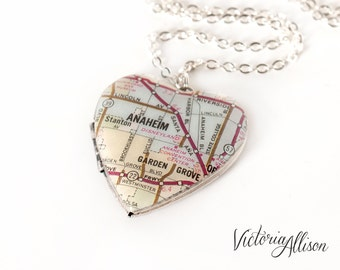 Anaheim Map Necklace on Large Vintage Heart Locket featuring Disneyland Landmark - Silver Plated - Gift for Her, Gift under 40, California