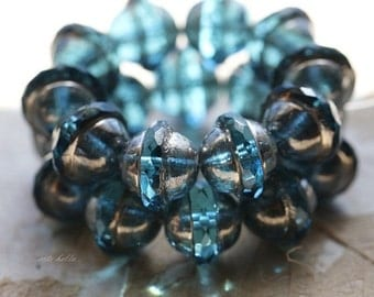 AQUA MERCURY BLISS .. 10 Picasso Czech Glass Saturn Beads 10x12mm (5121-10)